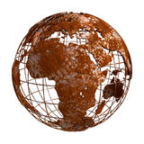 Globo del pianeta 3D di Rusty Earth Immagine Stock