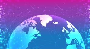 Globo del pianeta della terra nel blu porpora dello spazio i sistemi dei collegamenti allineano la composizione intorno al concet illustrazione di stock
