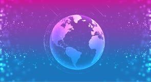 Globo del pianeta della terra nel blu porpora dello spazio i sistemi dei collegamenti allineano la composizione intorno al concet illustrazione vettoriale