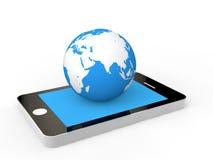globo del teléfono móvil 3d y de la tierra Imagen de archivo