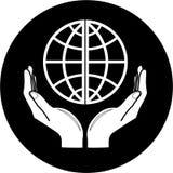 Globo del vector en icono de las manos Fotos de archivo