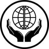 Globo del vector en icono de las manos Foto de archivo libre de regalías