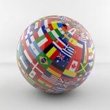Globo della bandiera con differenti bandiere di paese Fotografie Stock Libere da Diritti