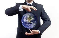 Globo della holding dell'uomo d'affari Fotografia Stock Libera da Diritti