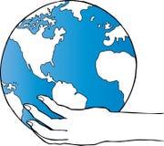 Globo della holding della mano Immagine Stock