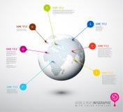 Globo della mappa di mondo con i segni del puntatore Immagini Stock