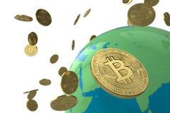 Globo della moneta di Bitcoin immagine stock libera da diritti