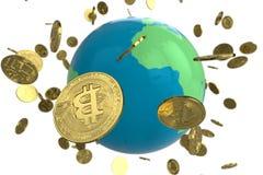 Globo della moneta di Bitcoin immagini stock libere da diritti