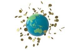Globo della moneta di Bitcoin immagini stock
