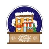 Globo della neve con il caffè decorato Natale nello stile piano con il Buon Natale d'iscrizione disegnato a mano di citazione per fotografia stock libera da diritti