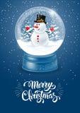 Globo della neve con il pupazzo di neve Fotografie Stock