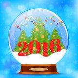 Globo della neve con l'albero di Natale Fotografie Stock