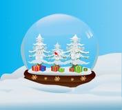 Globo della neve con la foresta del regalo Fotografia Stock