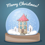 Globo della neve con una casa Fotografie Stock Libere da Diritti