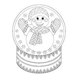 Globo della neve di Chriatmas dello zentangle di vettore con il pupazzo di neve E disegnata a mano Immagine Stock Libera da Diritti