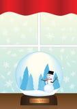 Globo della neve sull'illustrazione del davanzale della finestra Fotografia Stock Libera da Diritti