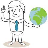 Globo della tenuta dell'uomo d'affari con la spiegazione del gesto illustrazione di stock