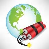 Globo della terra con dinamite Immagine Stock Libera da Diritti