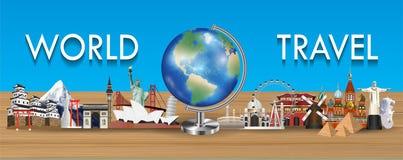 Globo della terra con il vettore del punto di riferimento di viaggio intorno al mondo Fotografie Stock
