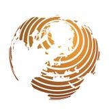 Globo della terra con la mappa a strisce arancio della terra del mondo messa a fuoco su Europa e sull'Antartide con il polo nord  illustrazione di stock