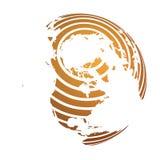 Globo della terra con la mappa a strisce arancio della terra del mondo messa a fuoco su Nord America e sull'Antartide con il polo illustrazione vettoriale