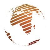 Globo della terra con la mappa a strisce arancio della terra del mondo messa a fuoco sull'Africa illustrazione di vettore 3d illustrazione di stock
