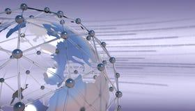 Globo della terra con la rete del collegamento Circuito stampato e codice binario fotografia stock libera da diritti