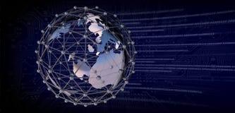 Globo della terra con la rete del collegamento Circuito stampato e codice binario fotografia stock