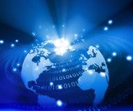Globo della terra con le fibre digitali Fotografia Stock Libera da Diritti
