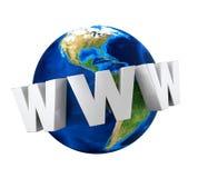 Globo della terra con testo WWW Fotografia Stock Libera da Diritti