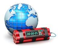 Globo della terra e bomba a orologeria Immagine Stock