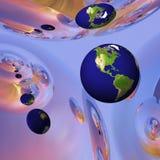 Globo della terra nell'ambiente surreale Immagini Stock Libere da Diritti