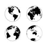 Globo della terra in quattro rotazioni illustrazione vettoriale