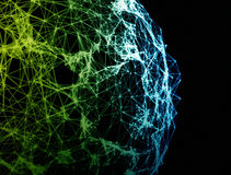 Globo delle connessioni di rete su fondo nero Immagine Stock