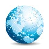 Globo di comunicazioni Icona della rete, di viaggio, di scambio o di connettività illustrazione vettoriale