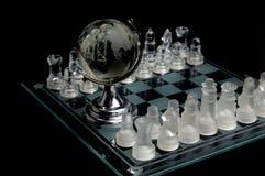 Globo di cristallo di scacchi del mondo Fotografie Stock