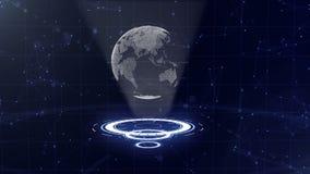 Globo di dati di Digital - illustrazione astratta di una tecnologia scientifica Rete di trasmissione di dati Pianeta Terra circon archivi video