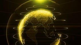 Globo di filatura Il pianeta Terra come ologramma di bagliore arancione con l'arco di potere allinea Ologramma futuristico della  illustrazione vettoriale