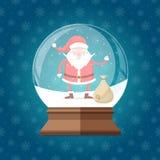 Globo di vetro magico della neve con Santa Claus sveglia e felice con la borsa dentro Fotografia Stock