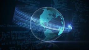 Globo digital de gerencio contra códigos binários e efeitos da luz ilustração royalty free