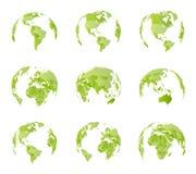 Globo, diversa vista lateral Todas las fronteras del país en mapa político del mundo Hemisferio del este y occidental Todos los l stock de ilustración