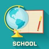 Globo do conceito da escola com grupo do ícone do bloco de notas Imagem de Stock