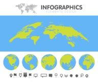 Globo do mapa do mundo dos desenhos animados e grupo verdes e azuis da coleção dos pinos Molde para a ilustração do vetor do info ilustração do vetor