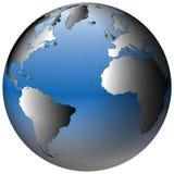 Globo do mundo: Atlântico, com oceanos azul-protegidos Foto de Stock Royalty Free