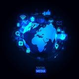 Globo do mundo com ícone app Ilustração do vetor Fotografia de Stock