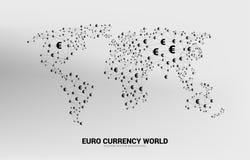 Globo do mundo com linha conectada euro- ponto do pol?gono do ?cone da moeda do dinheiro ilustração stock
