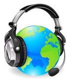 Globo do mundo dos auriculares do serviço de atenção Imagem de Stock Royalty Free