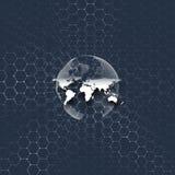 Globo do mundo, linhas de conexão e pontos azuis no fundo colorido Teste padrão da química, estrutura sextavada da molécula Imagem de Stock Royalty Free