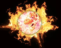Globo do mundo no incêndio Foto de Stock Royalty Free