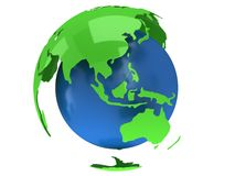 Globo do planeta da terra 3d rendem Opinião de China Fotografia de Stock